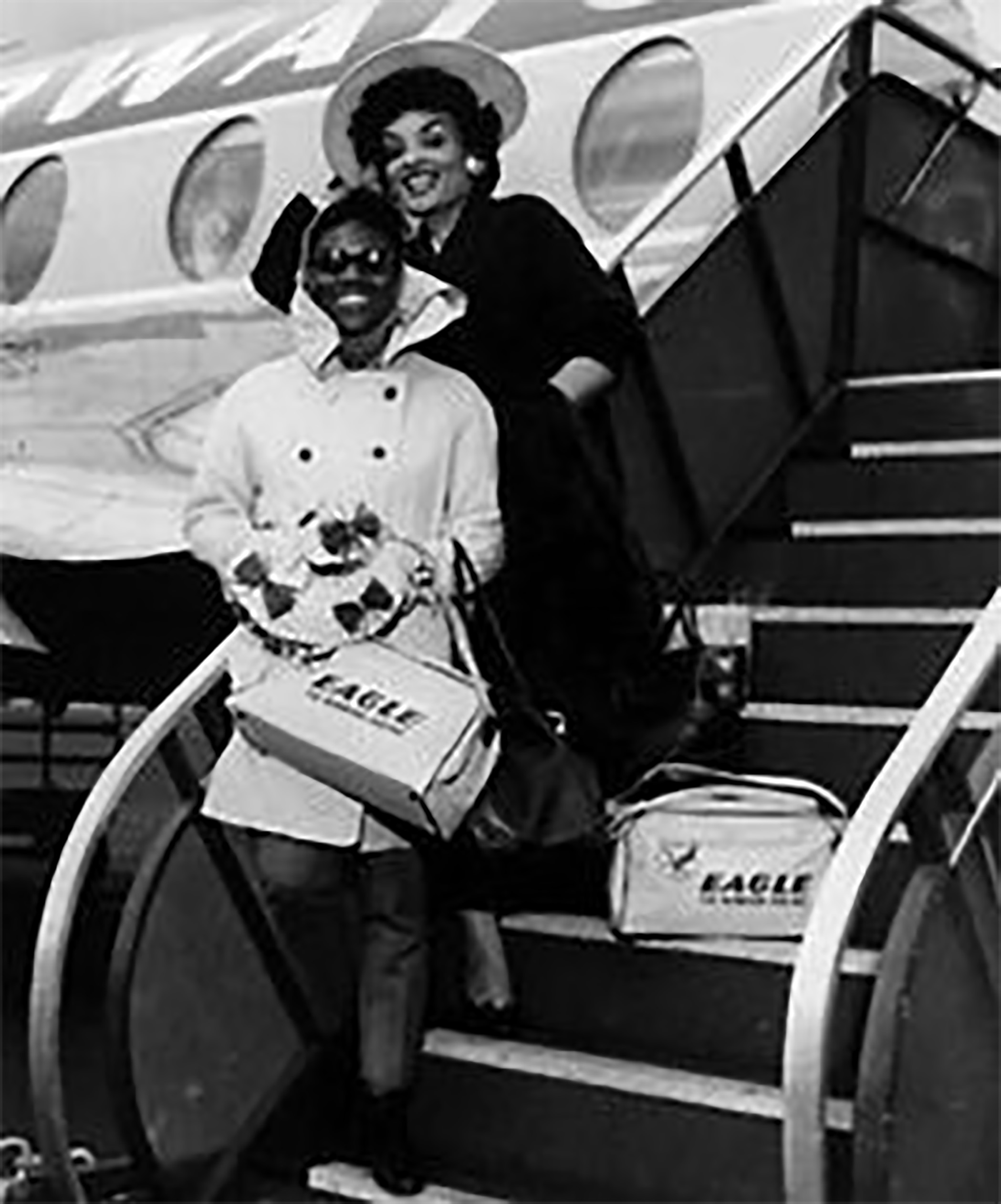 Cicely Tyson and modeling pioneer Ophelia DeVore disembarking from an airplane, probably in the early 1960s.  Photo credit: Black Girl Long Hair