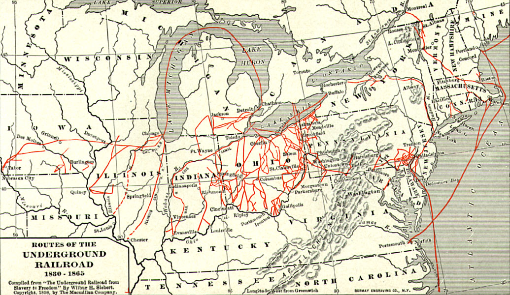 """""""Routes of the Underground Railroad, 1830-1865."""""""