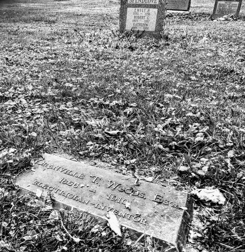 B&W photo of Granville Woods grave.