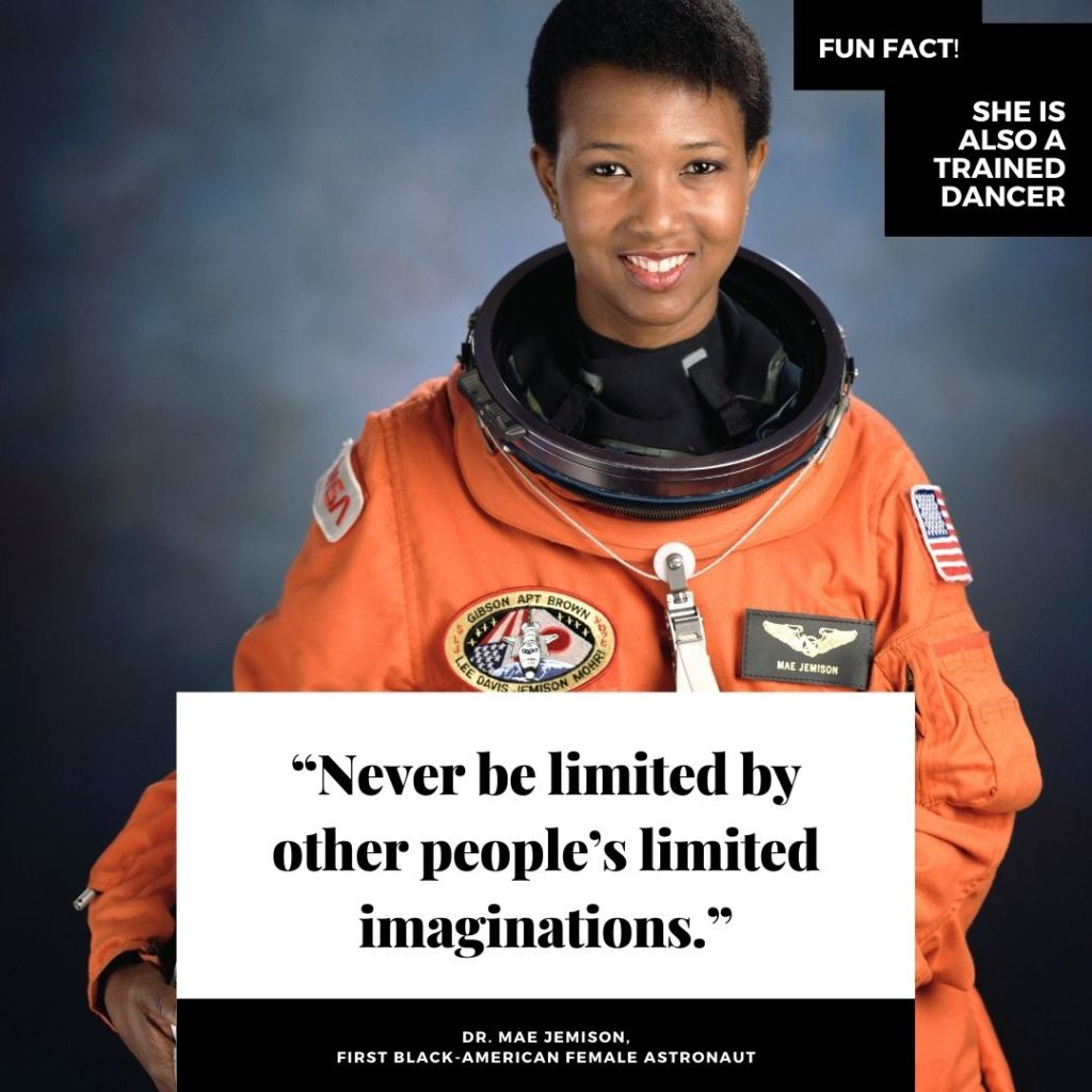 Picture of Mae Jemison with a quote