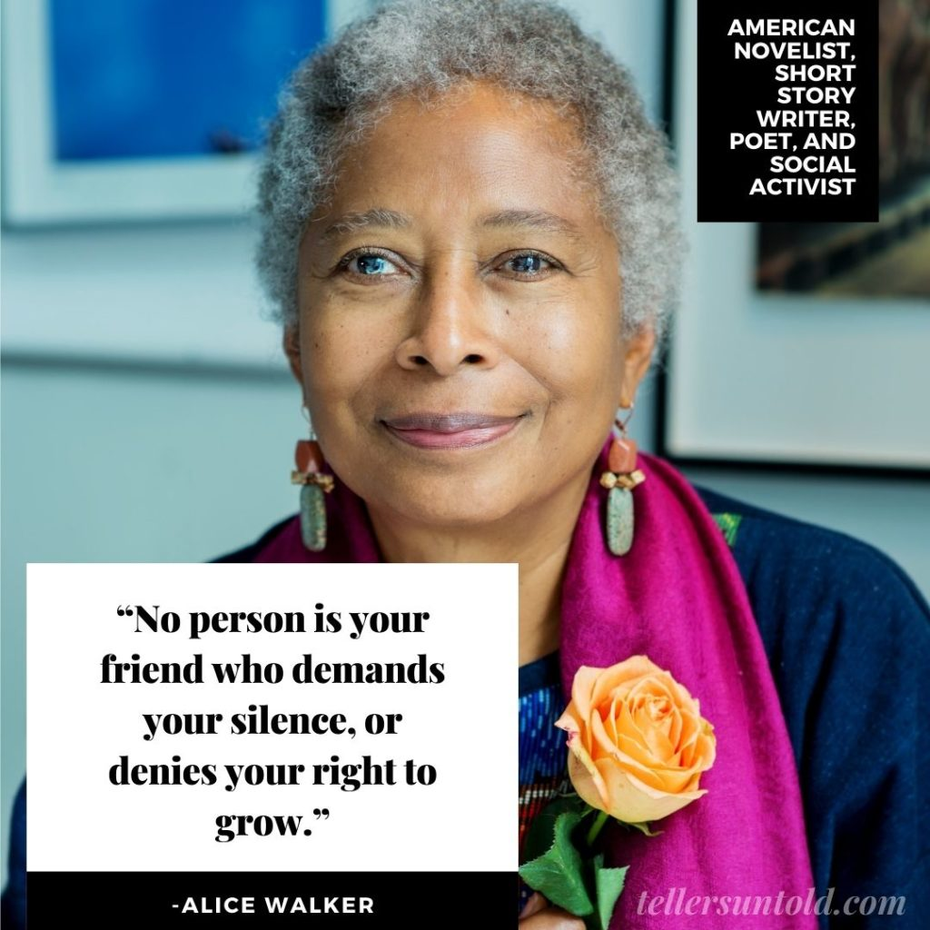Color photo of Alice Walker with a quote.