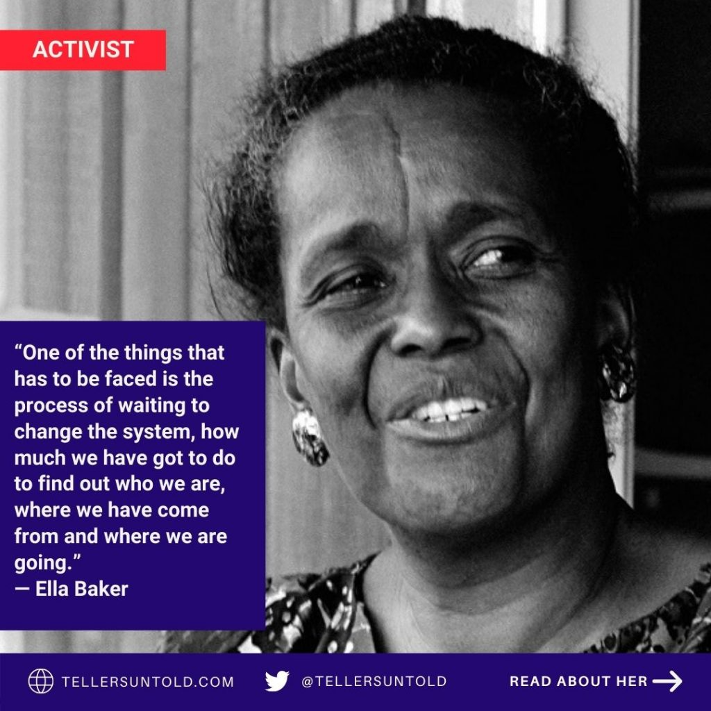 Picture of Ella Baker with quote