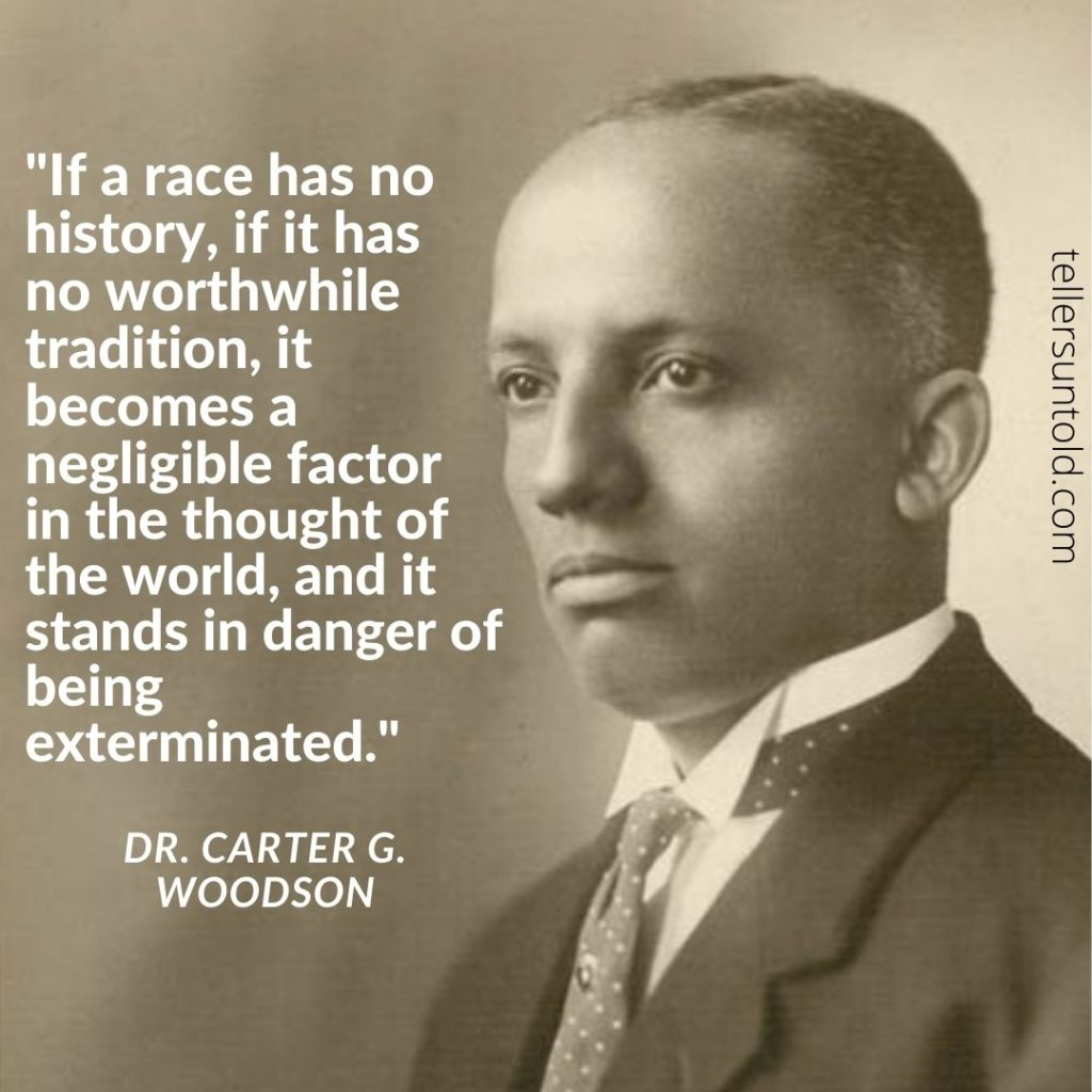 B&W Photo of Carter G. Woodson with a quote