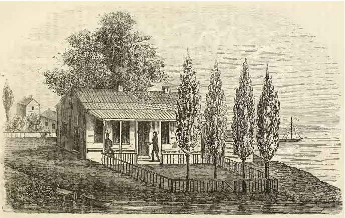 The house built by John Baptiste DuSable close to the mouth of the Chicago River as it appeared when owned by the Kinzie family in the early 1800s