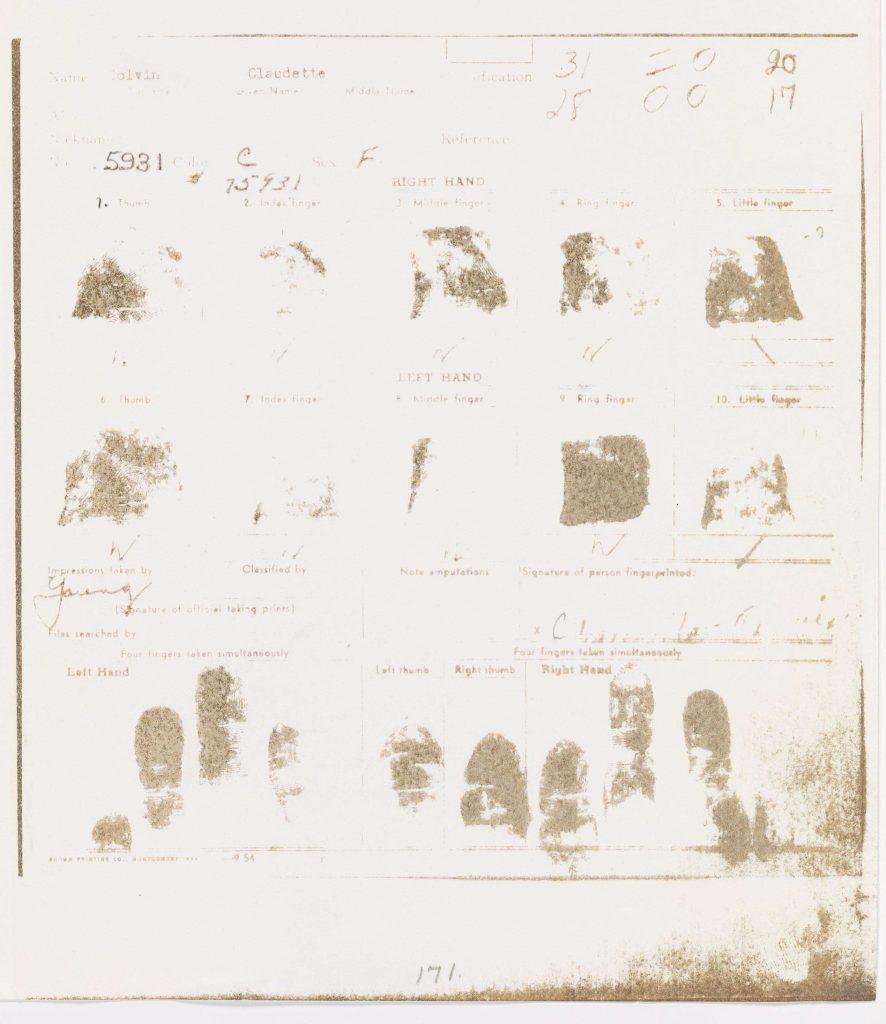 Claudette Colvin fingerprints